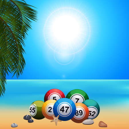 Summer Beach Scene With Palm Tree Bingo Lotto Balls Starfish and Pebbles on the Sand Over Blue Sunny Sky Background