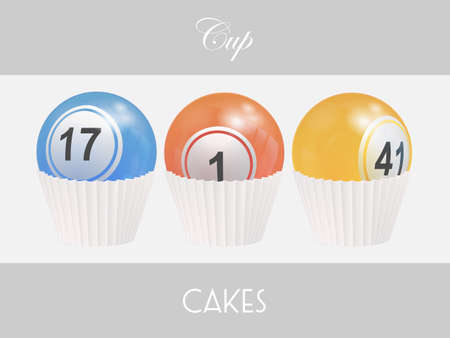 3D Illustration of Trio Of Cup Cake Made With Bingo Lottery Balls Over a White Panel on Gray Background with Decorative Text