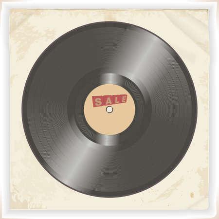 Illustrazione 3D del disco in vinile con testo decorativo in vendita su sfondo vintage grunge