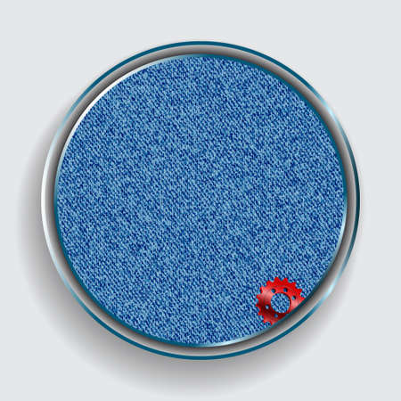 3D Illustration Of Metallic Circular Border With Textured Blue Jeans Denim Material Copy Space And A Red Cog With Shadow Over White Background