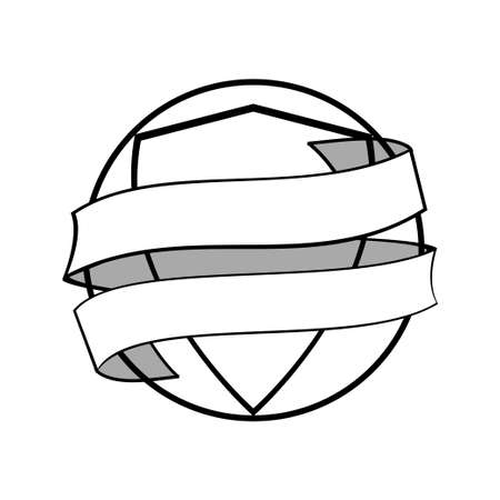 Hand Drawn Style Circular Border With Inner Shield Wrapped In a Blank White Banner 向量圖像