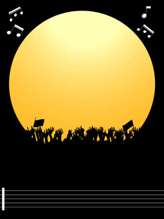 Music Festival or Party Yellow Border Copy Space with Cheering Crowd Silhouette Over Black Portrait Background with Music Notes on Pentagram Archivio Fotografico - 128419154