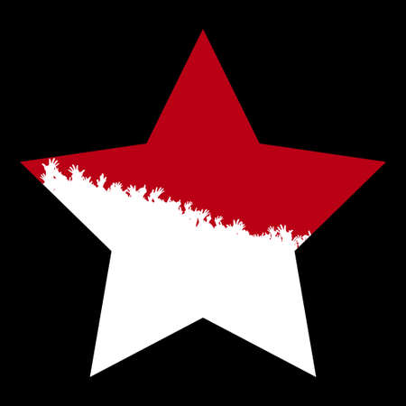 Red Star With White Silhouette Of Cheering Crowd Copy Space Over Black Background Ilustrace