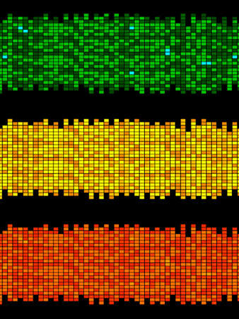 Trio Of Vintage Retro Copy Space Panels Made Of Vivid Colorful Tiles Green Yellow and Red Over Black Background