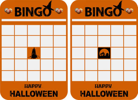 Halloween Themed Blank Orange Bingo Cards With Decorated Bingo And Halloween Text balls Witch and Graveyard