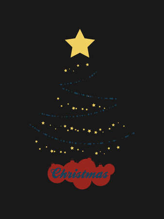 Abstract Christmas Tree Made Of Abstract Blue Baubles Yellow Stars and Red Silhouette Baubles As Base With Decorative Text Over Black Background