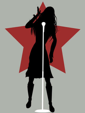 Black Silhouette Of Female Singer With Microphone Over Gray Background With Red Star 向量圖像
