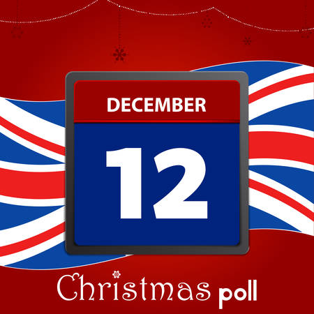 Calendar Page With 12 December Date In Red And Blue For United Kingdom Election Day Over Festive Christmas Decorated Red Background Union Jack Flag And Christmas Poll Decorative Text 일러스트