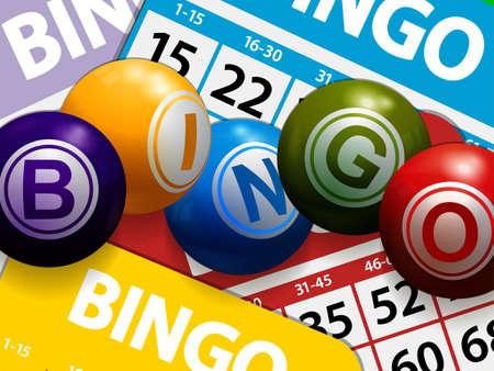 3D Illustration Of Bingo Balls Stating The Word Bingo Over Multicolored Bingo Cards Background