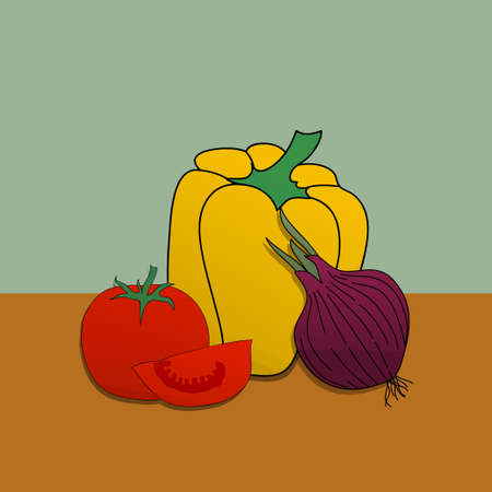 Illustration Of Hand Drawn Collection Of Vegetables With Yellow Pepper Red Tomatoes an One Onion Over Green And Brown Background