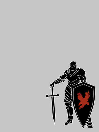 Blank Copy Space Card With Hand Drawn Black Knight With Shield And Red Eagle Silhouette