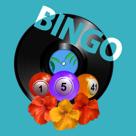 3D Illustration Of Trio Of Bingo Balls Over Summer Turquoise Blue Background With Vinyl Record Disc Hibiscus Flowers And Bingo Decorative Text Illustration