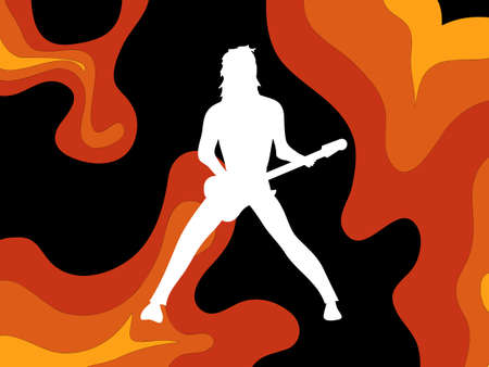 White Silhouette Of Rock Star Playing Guitar Over Abstract Psychedelic Red Orange Yellow And Black Background