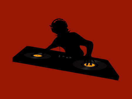 Black Silhouette Of DJ With Headphone Working On A Double Deck With Vinyl Discs Over Red Background Illusztráció