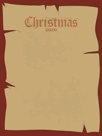 Blank Copy Space Christmas Paper Ancient Sheet In Brown With Grunge Cracks And Decorative Gothic Text Over Dark Red Background