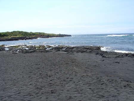 Black Sand Beach, Hawaii 版權商用圖片