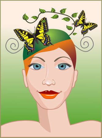 healty lifestyle: Girl with butterflies in hair