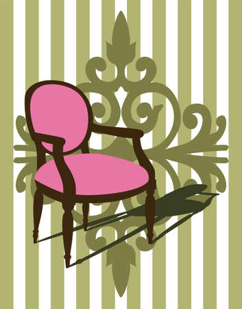 ambiente: Armchair and green wallpaper Stock Photo