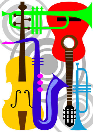 Music abstract instrument elements, colored elements Stock Photo