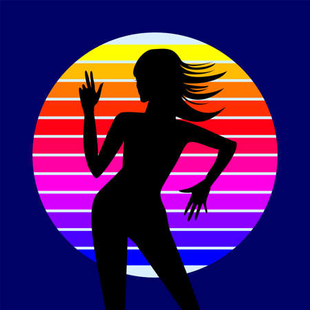 showgirls: Dancing woman silhouette with funky colorful element