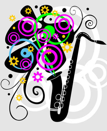 Black saxaphone with flowers  Illustration