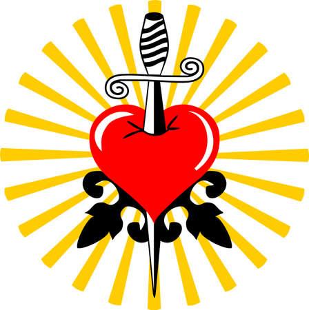 Broken tattoo heart  Vector