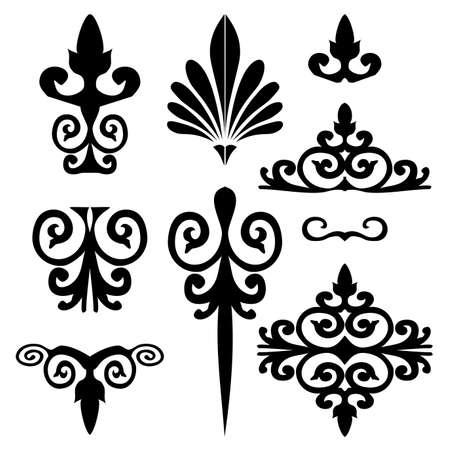 barok ornament: Set van florale elementen