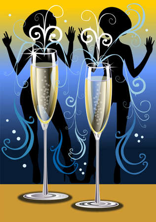 Fluted champagne glasses with dancing girls silhouettes  photo