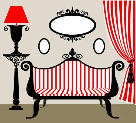 Retro interior in black and red photo