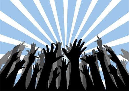 Vector silhouette di un gruppo di persone cheering