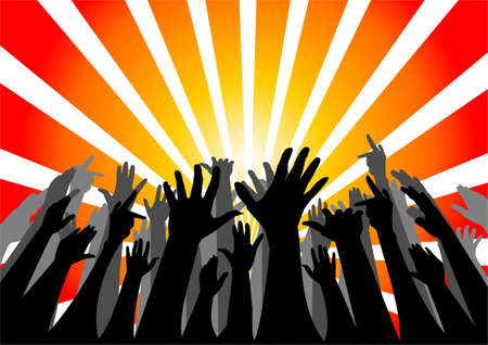 Silhouette of group of people cheering Stock Photo