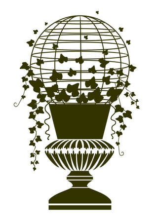 Antique vase with ivy Vector