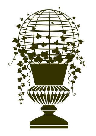 furniture idea: Antique vase with ivy Illustration