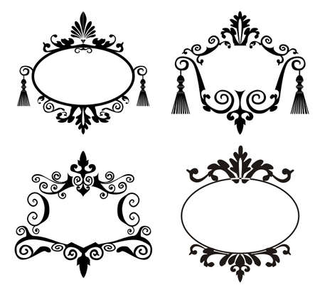 Decorative frames vector silhouettes