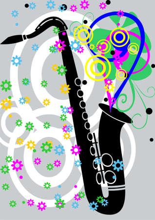Black jazz saxaphone with flowers  Vector