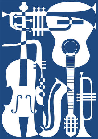 Abstract blue musical instruments, vector illustration.