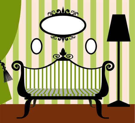 Retro vector interior in green and black Illustration