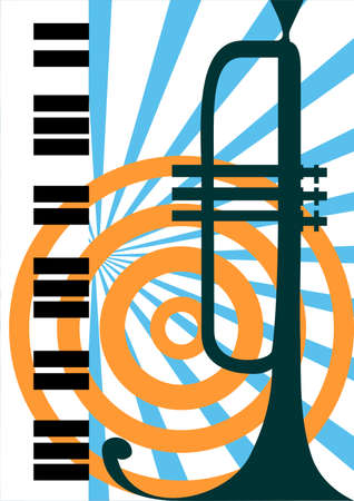 trumpet vector: Vector trumpet and piano illustration Illustration