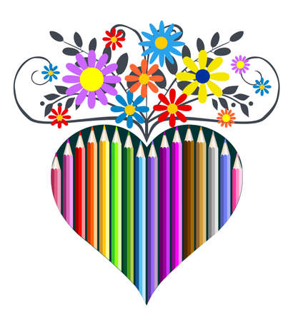 Pencils heart and flowers, vector illustration Vector