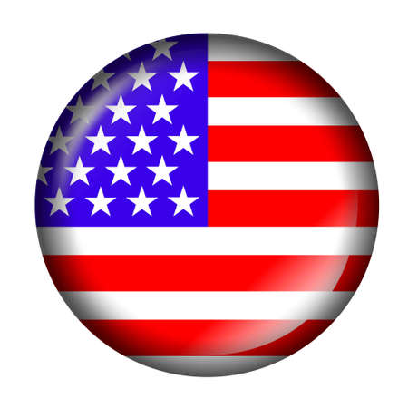 flags usa: USA Flag Button with 3d effect, isolated in white Stock Photo