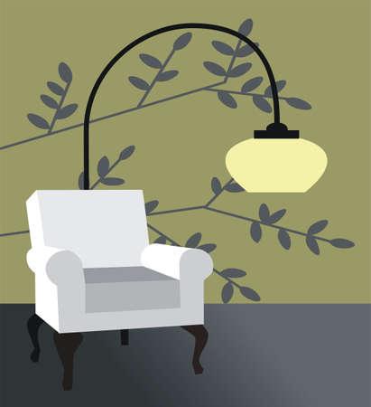 White armchair, modern retro interior vector illustration Vector
