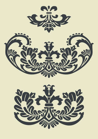 fleur: Set of vector baroque patterns for design