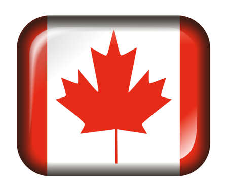 Canada Flag Button with 3d effect, isolated in white photo