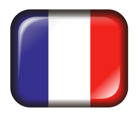 France Flag Button with 3d effect, isolated in white photo