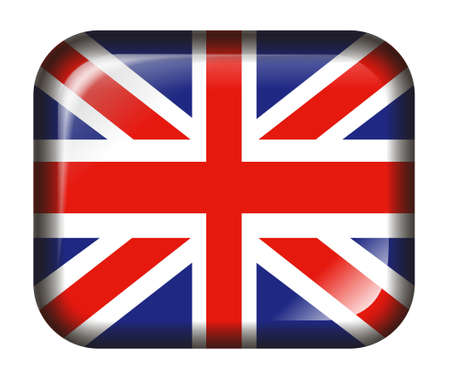 UK Flag Button with 3d effect, isolated in white