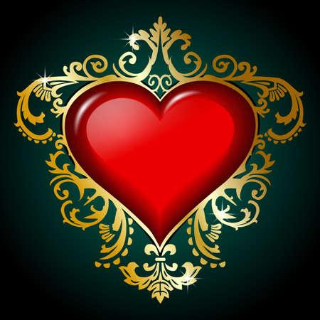 victorian valentine: Golden valentines day background Stock Photo