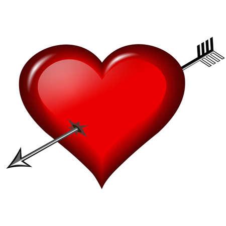 heart arrow: Glass broken heart, isolated in white