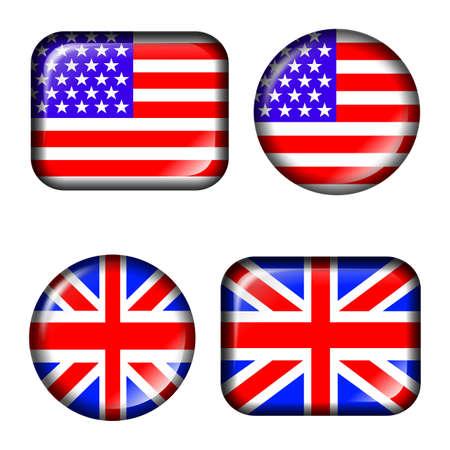 drapeau angleterre: Etats-Unis et le Royaume-Uni Drapeau Bouton avec effet 3D, isol� en blanc Banque d'images