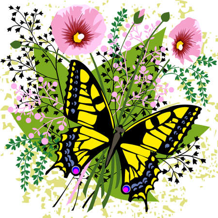 Butterfly and spring flowers Vector