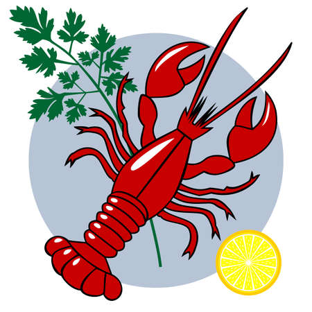 menue: Red lobster dinner vector composition